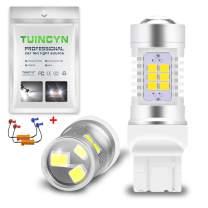 TUINCYN 7440 7440NA 7441 992 T20 LED Turn Signal Light Bulbs White Canbus Error Free 2835 21 SMD LED Light Auto Backup Brake Light DRL Parking Light with 50W 8 Ohm LED Load Resistors(2-Pack)