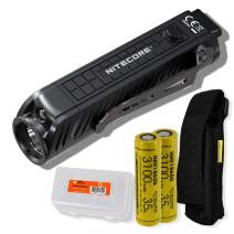 Nitecore P18 1800 Lumen Compact Flashlight with Silent Tactical Switch and Auxiliary Red LED with 2X Rechargeable Batteries and LumenTac Battery Organizer