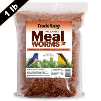 TradeKing 1 lb Dried Mealworms - High Protein Treat for Wild Birds, Chicken, Fish & Reptiles