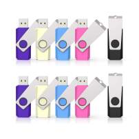 10 Pack 16 GB Flash Drive USB Flash Drive USB 2.0 Thumb Drive Swivel U Disk Memory Stick 16 GB Multi Pack USB Drives with Led Light (5 Mixed Colors: Black Blue Pink Yellow Purple)