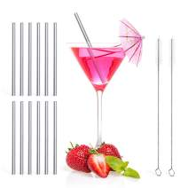 Teivio 12 Pack + Cleaning Brush, 5-inch Extra Short Reusable Stainless Steel Drink Straws for Cocktails, Small Glasses or Cups, and Child Use