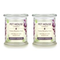 One Fur All - 100% Natural Soy Wax Candle - Pet Odor Eliminator, Up to 60 Hours Burn Time, Non-Toxic, Eco-Friendly Reusable Glass Jar Scented Candles – Lavender Green Tea - Pack of 2