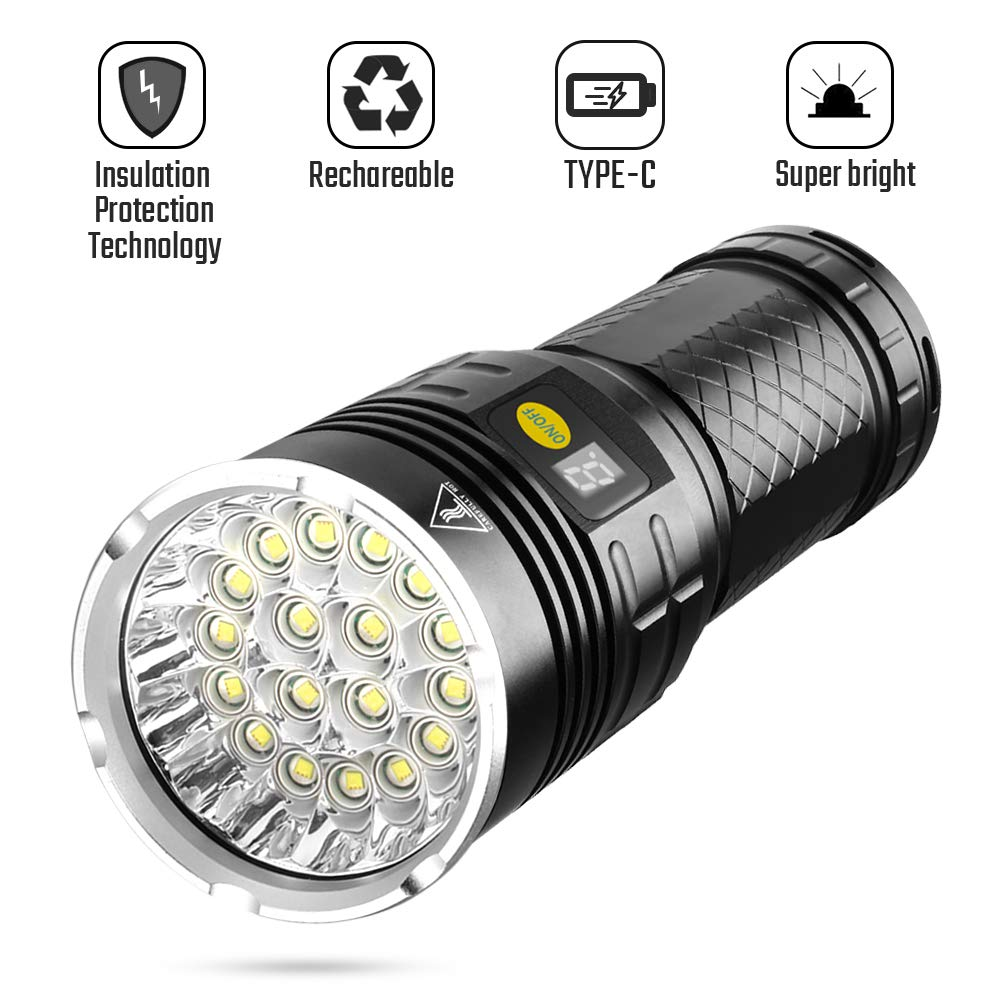 Emergency Hurricane LED Tactical Flashlight 2 Pack Power Outage 6 Modes High 3000 Lumen Torch Light for Camping