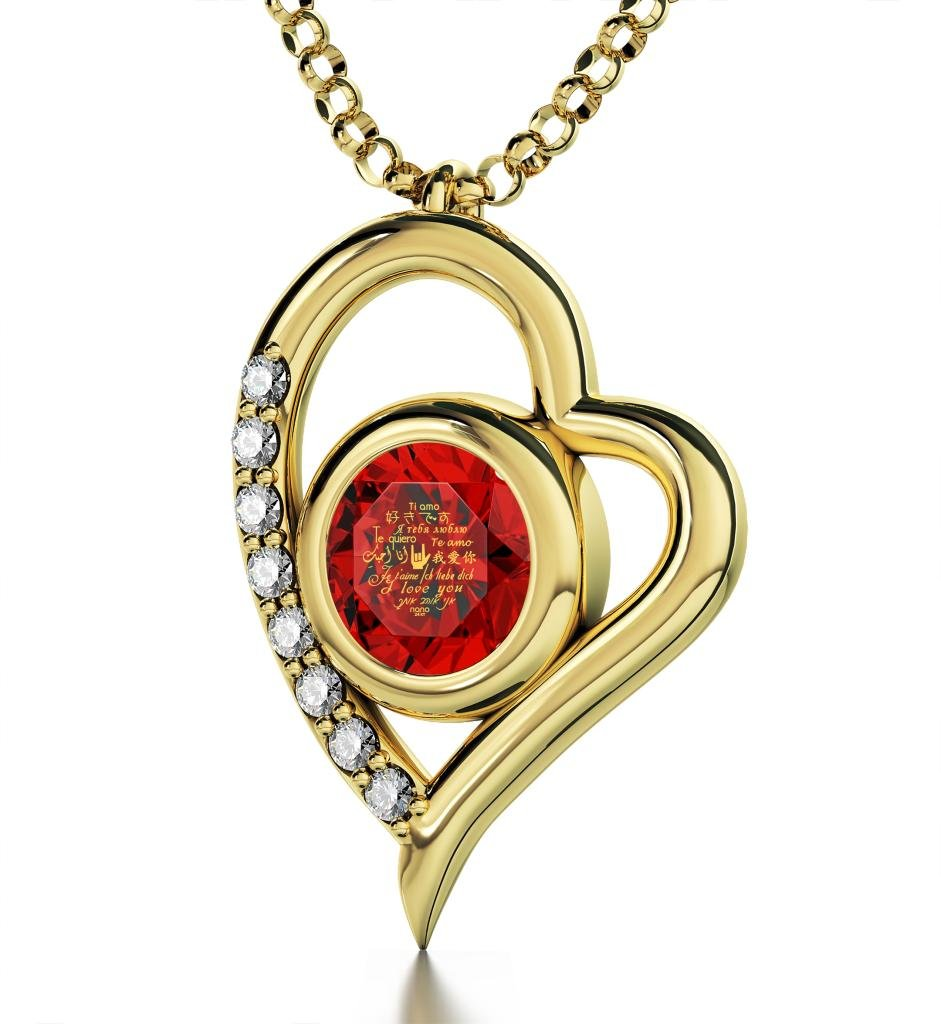 """Gold Plated Silver I Love You Necklace Heart Pendant in 12 Languages Inscribed in 24k Gold Including Sign Language in Miniature Text onto a Round Crystal, 18"""" Rolo Chain"""