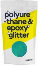 Hemway Metallic Glitter Floor Crystals for Epoxy Resin Flooring (500g) Domestic, Commercial, Industrial - Garage, Basement - Can be Used with Internal & External (Turquoise Holographic)