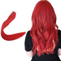 Easyouth Tape In Hair Extensions 16 Inch 25g 10Pcs Per Package Colour Red Double Sided Tape Hair Extensions Tape In Russian Hair Extensions