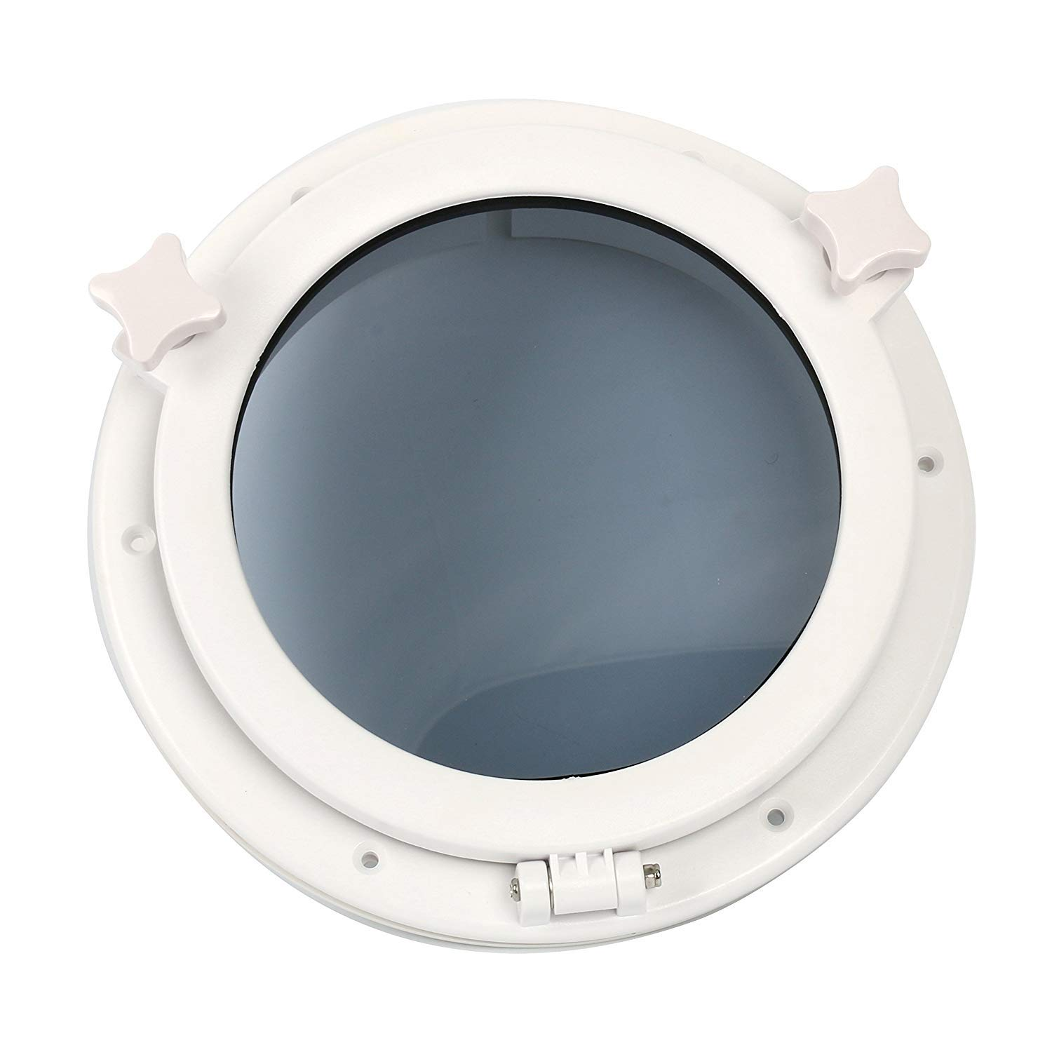 """Amarine Made Boat Yacht Round Opening Portlight Porthole 10"""" Replacement Window Port Hole - ABS, Tempered Glass -Marine/Boat/rv Portlight Hatch, Color: White, Black"""