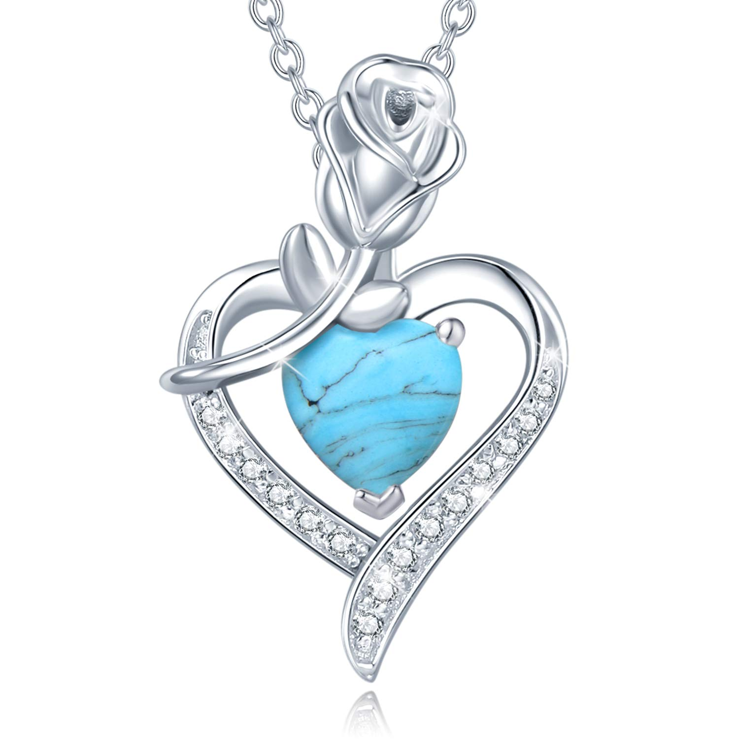 Mothers Day Gifts Fine Jewelry Birthstone Necklaces for Women Sterling Silver Genuine or Created Gemstone Rose Flower Heart Pendant Necklace Gifts for Mom Anniversary Birthday Gifts for Girls Her