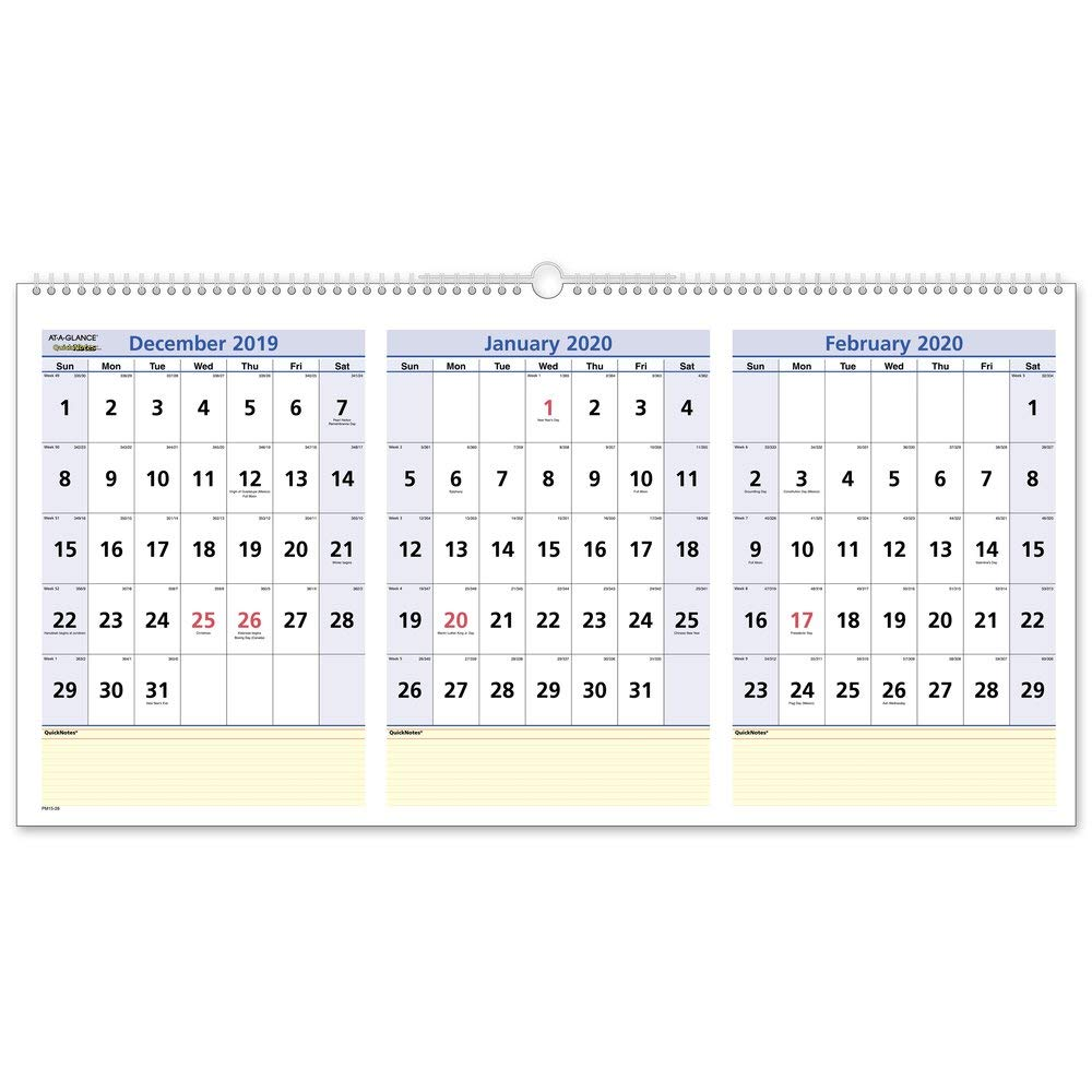 """AT-A-GLANCE 2020 Wall Calendar, 3-Month Display, QuickNotes, 23-1/2"""" x 12"""", Large, Horizontal (PM1528)"""