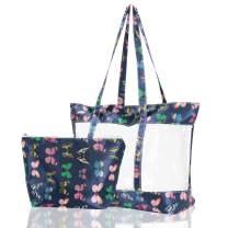 Atrest Transparent Bag, Women's Large Clear Tote Bag Tote Shoulder Bag for Gym Hiking Picnic Travel Beach
