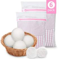 Peakally Wool Dryer Balls and Mesh Laundry Bags,Perfect Laundry Wash and Dry Sets.XXL Premium Reusable 100% Organic New Zealand Wool Natural Fabric Softener Combine Delicates Mesh Laundry Wash Bags
