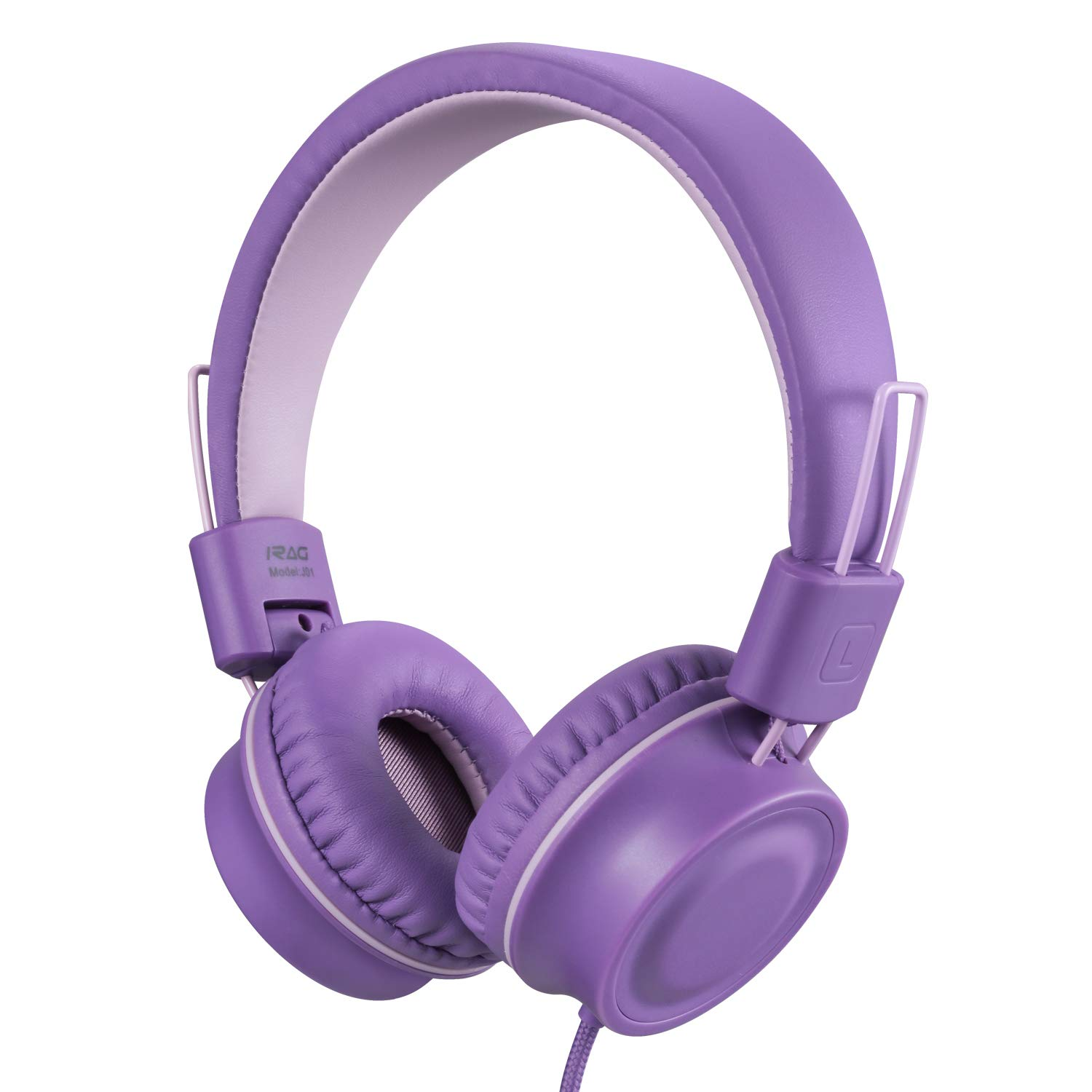iRAG J01 Kids Headphones Foldable Stereo Tangle-Free 3.5mm Jack Wired Cord On-Ear Headset for Children/Teens/Boys/Girls/iPad/iPhone/School/Kindle/Airplane/Plane/Tablet (Lavender)