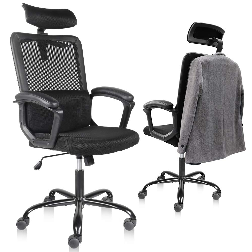 Smugdesk Office Chair, High Back Ergonomic Mesh Desk Office Chair with Padding Armrest and Adjustable Headrest Black
