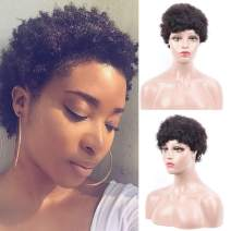 Afro Short Kinky Curly Wig for Women Black Color Short Curly 100% Indian Human Hair Wigs Pixie Cut Wigs 150% Density (10inch)