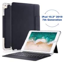 iPad Keyboard Case for iPad 10.2 2019, Smart Keyboard Folio Case for iPad 7th Generation, Protective Shockproof Heavy Duty iPad 10.2 Keyboard Case with Pencil Holder,Black