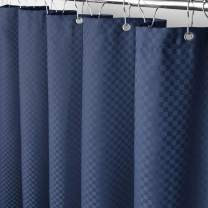 """Eforcurtain Small Width 36"""" x 72"""" Polyester Fabric Bath Curtains Navy Blue Trendy Checkered Design, Machine Washable Heavy Weight Shower Curtain Liner Water Repellent"""