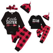 Baby Boy Girl Clothes Big Brother Little Sister Matching Outfits+Red Plaid Pants Outfits Sets Gifts