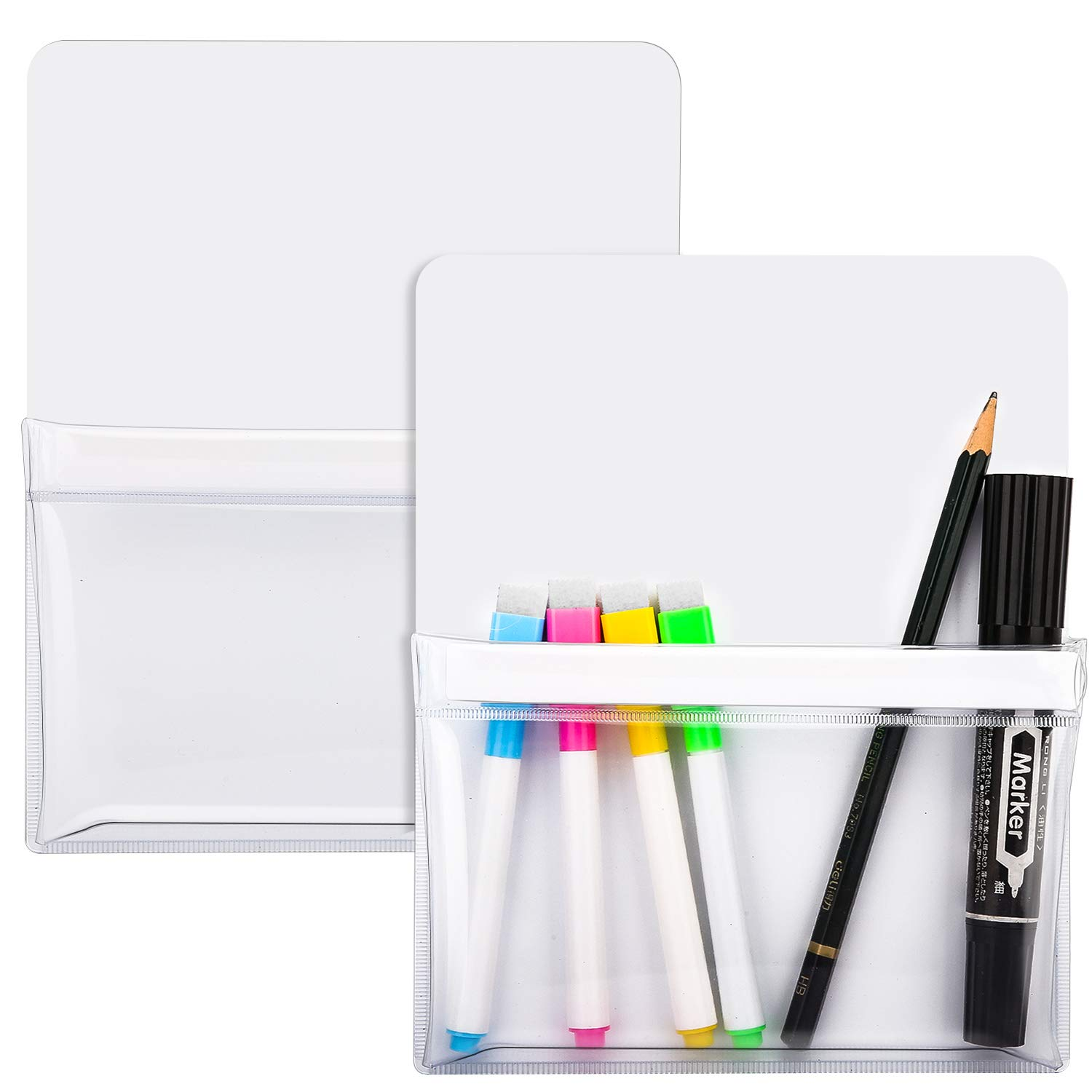 MoKo Magnetic Pen Holder [2 Pack], Dry Erase Marker Holder Organizer Pencil Cup for Refrigerator, Whiteboard, Fridge, Locker, Office Glass and Other Magnetic Surfaces, White