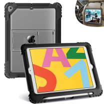 """TopEsct iPad 10.2 Case 2019 iPad 7th Gen Case, Hybrid Heavy Duty Built in Pencil Holder Kickstand Shockproof Protective Case, Compatible with New iPad 10.2"""", iPad Air3 and iPad Pro 10.5""""(Black)"""