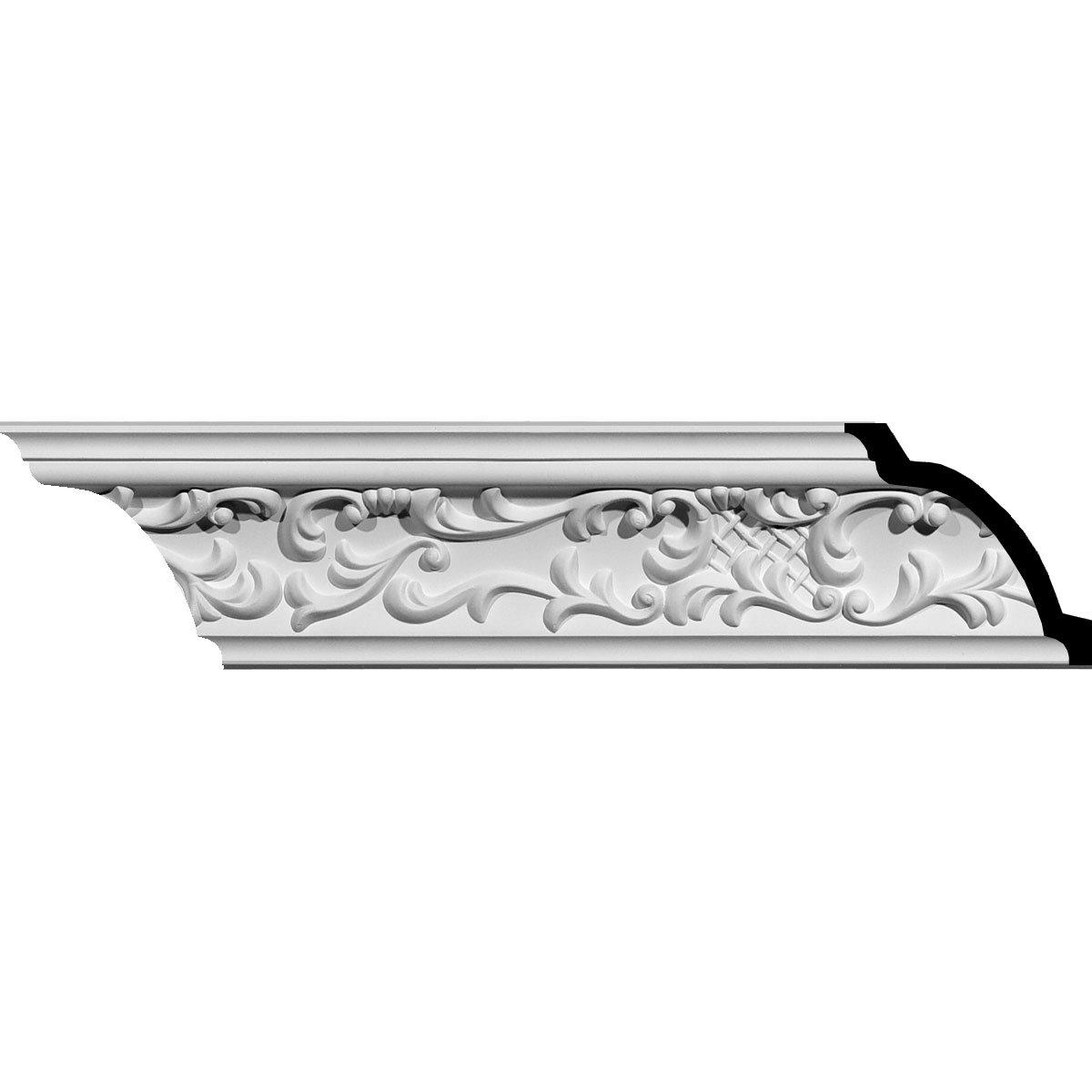 "Ekena Millwork MLD03X03X05SG-CASE-2 Strasbourg Crown Moulding (2-Pack), 3 5/8""H x 3 5/8""P x 5 1/4""F x 94 1/2""L, Factory Primed"