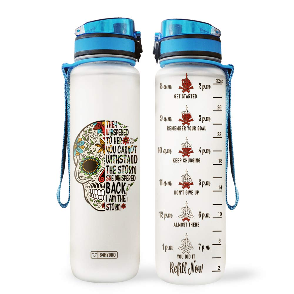 64HYDRO 32oz 1Liter Motivational Water Bottle with Time Marker, Sugar Skull Mandala I am The Storm HNY2904002 Water Bottle