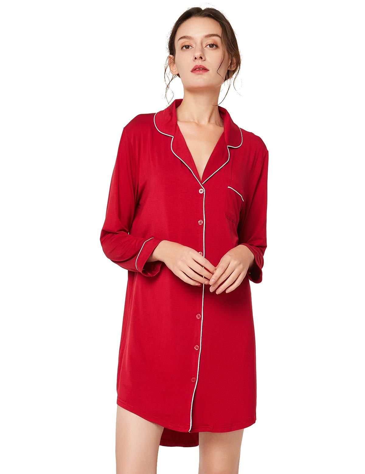 Escalier Women's Nightgown Button Down Nightshirt Long Sleeve Boyfriend Sleep Shirt Pajama Dress Sleepwear