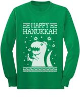 Happy Hanukkah Funny Jewish T-Rex Ugly Christmas Youth Kids Long Sleeve T-Shirt