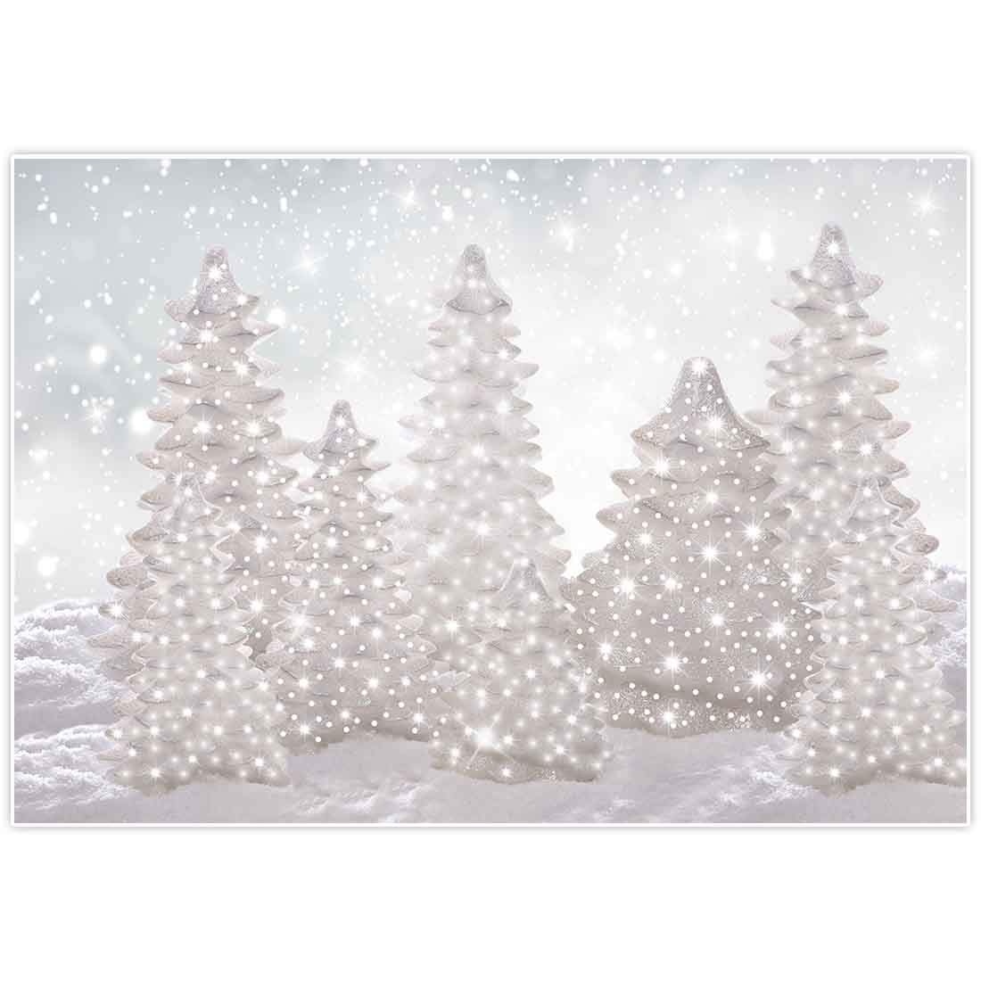 Allenjoy 7x5ft Fabric Winter Wonderland Backdrop New Year Eve Party Supplies for NYE Events Christmas Snowflake Snow Tree Home Decorations Baby Shower Cake Smash Props Photography Background Favors