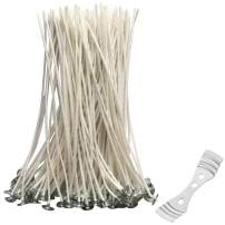 HuDieM Candle Making Cotton Wicks: 100pcs 8 inch Low Smoke Natural Candle Wicks with Centering Device for Soy Paraffin Palm Bees Wax Candle DIY Making