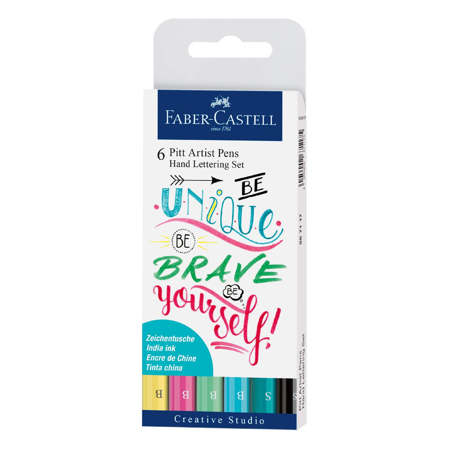 Faber-Castell Pitt Artist Pen Hand Lettering Set - 6 Modern Calligraphy and Lettering Markers in Assorted Nibs and Colors (Be Unique)