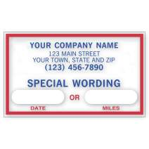 CheckSimple Oil Change Stickers - Static Cling Windshield - Custom Text and Business Info (500 Stickers)