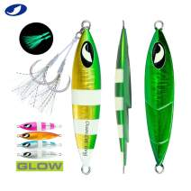 OCEAN CAT 1 PC Slow Fall Pitch Lead Metal Flat Fishing Jigs Lures Sinking Vertical Jigging Bait with Butterfly Hook for Saltwater Fishing