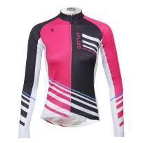 ILPALADINO Women's Cycling Jersey Long Sleeve Biking Shirt Pink and Black