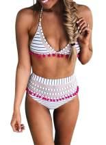 HUUSA Womens High Waist Two Pieces Bikini Set Stripe Tassel Padded Swimsuit Fashion Swimwear