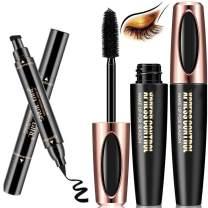 4D Silk Fiber Lash Mascara with Winged Eyeliner Stamp, Waterproof, Long Lasting, Smudge Proof, Sweat Proof,2 Pieces Black