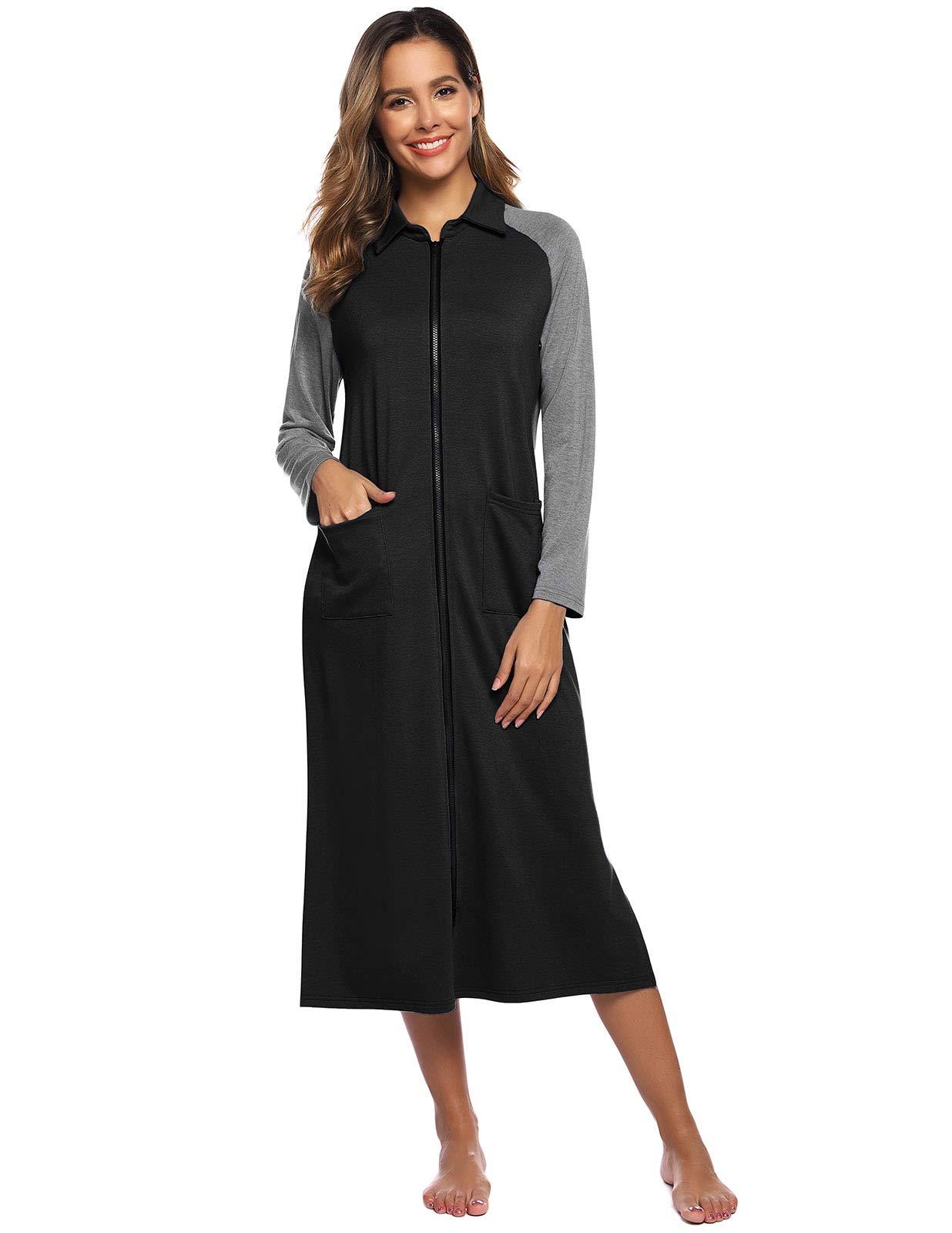 Zexxxy Women Zipper Robe Raglan Sleeve Loungewear Cotton Knit Long Nightgown with Pocket S-XXL