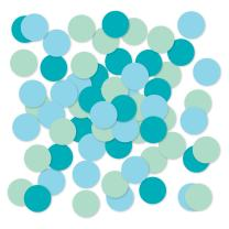 Andaz Press Large Confetti Party Table Decor, 1.5-inch Double-Sided, Baby Blue, Turquoise Aqua, Mint, 180-Pack