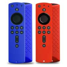 2 Pack Covers for All-New Alexa Voice Remote for Fire TV Stick 4K, Fire TV Stick (2nd Gen), Fire TV (3rd Gen) Shockproof Protective Silicone Case (Blue+Red)