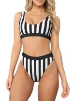 Azokoe Women Two Piece High Waisted Bathing Suit Low Scoop Sport Style Bikini Set Swimsuit