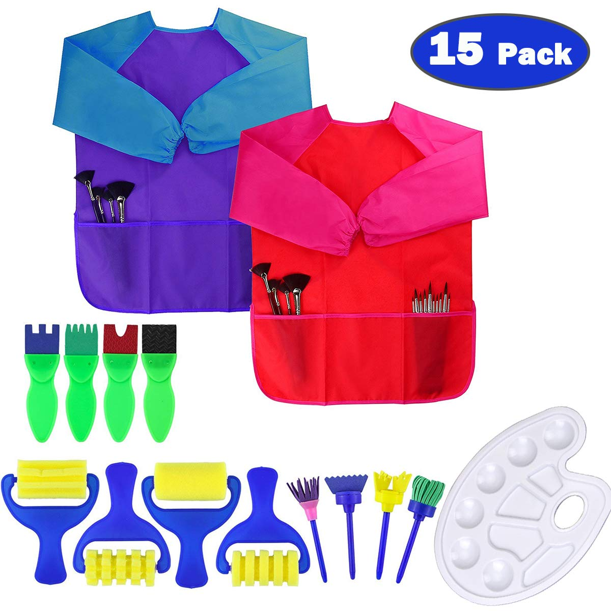 Dreampark Art Smock for Kids, Children Art Aprons - Paint Brushes - Color Palette for Toddler Painting Art and Craft Supplies (15 Pack) Waterproof Long Sleeve 3 Roomy Pockets, Ages 2-6