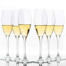 Set of 6, 9oz Crystal Champagne Glasses, Tulip Champagne Sparkling Flute Glasses for Home Bar Anniversary Birthday Wedding, Recommended by Chefs and Sommelier