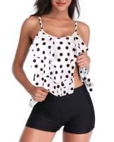 Yonique Women Tankini Swimsuit Flounce Tank Top with Boyshorts Ruffle 2 Piece Bathing Suit