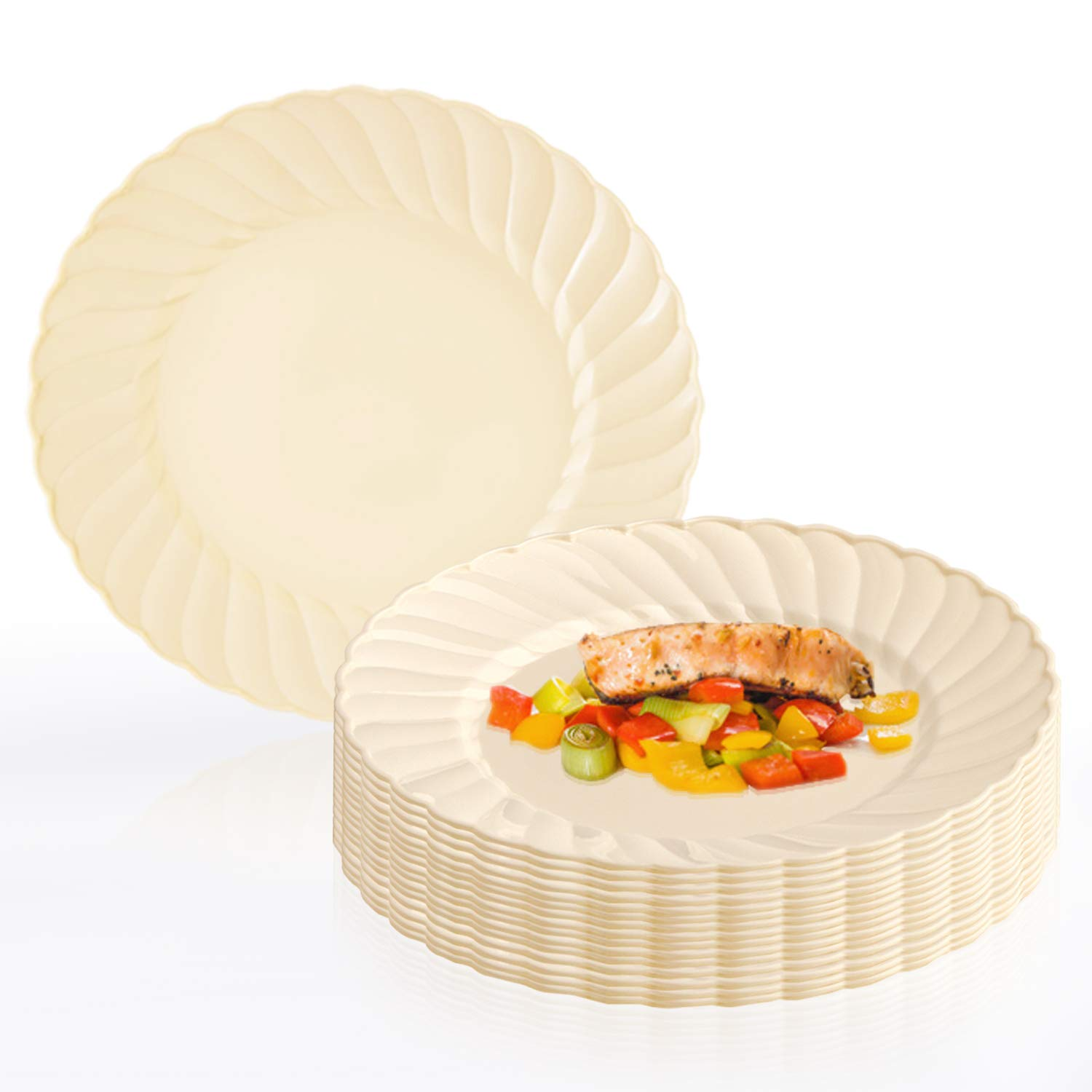 """Elegant Disposable Plastic Dessert Plates 180 Pcs - 7.5"""" Heavy Duty Flared Ivory Salad Plates - Reusable Fancy Appetizer Cake Plates - Bulk Party Supplies For Wedding, Easter, Birthday & All Occasions"""
