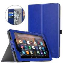 Dadanism Case Fits All New Amazon Kindle Fire 7 2019 Tablet (9th Generation, 2019 Release Only), Premium PU Leather Lightweight Slim Stand Cover with Hand Strap and Card Slot, Auto Wake/Sleep – Blue