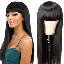UNice Glueless Straight Human Hair Wigs With Bangs, Mongolian Virgin Hair Full Machine Made None Lace Front Wigs for Black Women 150% Density (24inch)