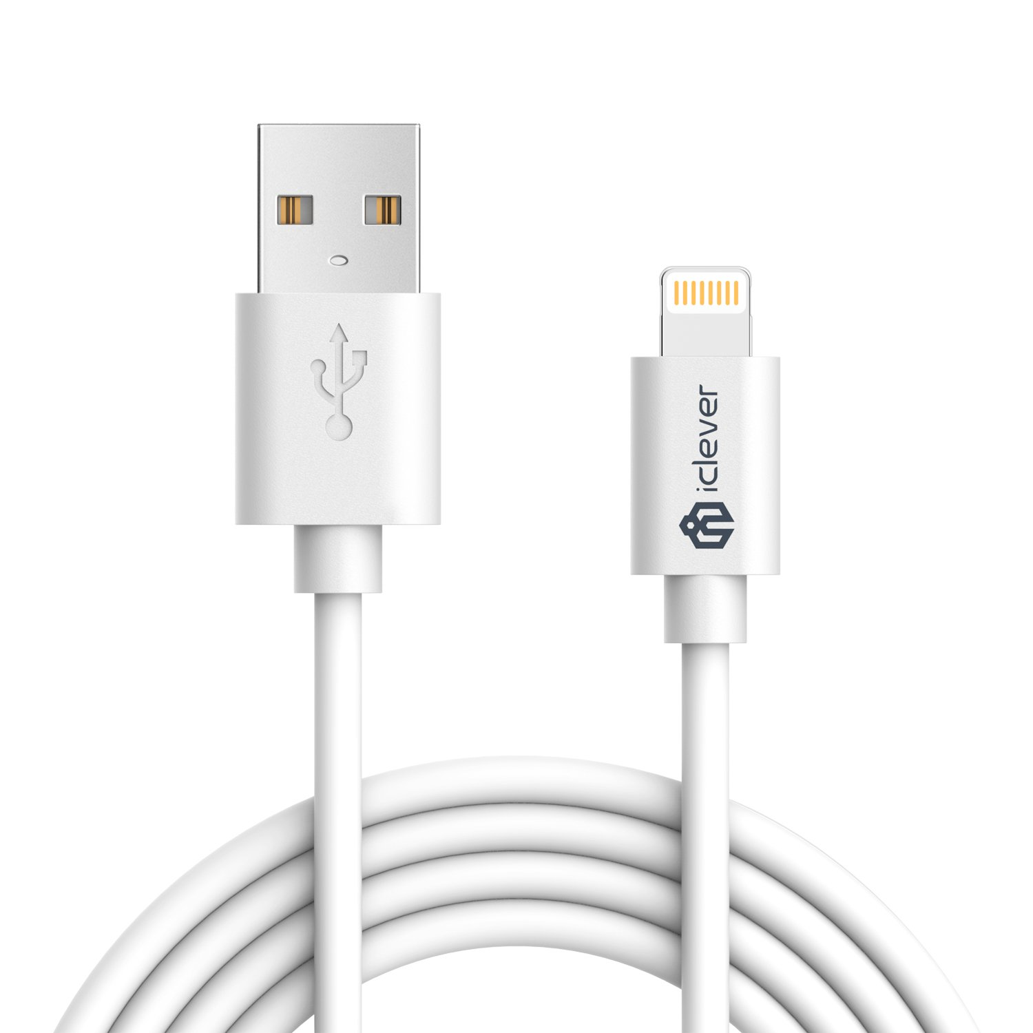 iClever 6ft iPhone Charger Cable,Apple MFi Certified Lightning to USB Cable with 8-Pin Ultra Compact Connector Head for iPhone Xs Max XR X 8 Plus 7 6 6s Plus 5s, iPad Air Mini Pro (White)