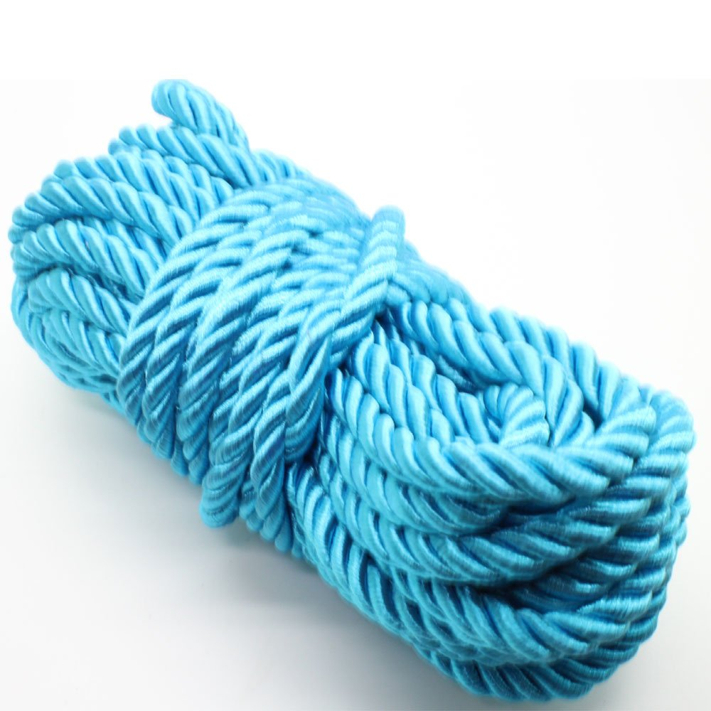 U Pick 10yds 5mm Decorative Twisted Satin Polyester Twine Cord Rope String Thread Shiny Cord Choker Thread (05:Turquoise)