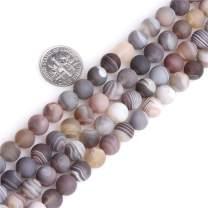 "JOE FOREMAN Botswana Agate Gemstone Beads for Jewelry Making Strand 15"" 8mm Frost Matte Round"