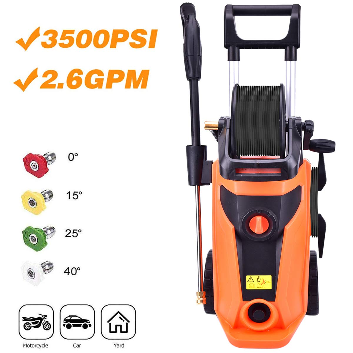 YiiYYaa 3500PSI Electric High Pressure Washer, 2.6GPM 1800W Power Washer, Professional Wash Cleaner Machine with with Hose Reel and 4 Interchangeable Nozzles