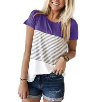 Aygience Womens Short Sleeve Striped T-Shirt Color Block Striped Shirts Casual Blouse